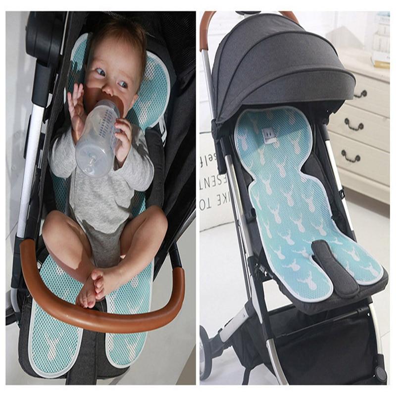 Almohadilla de refrigeración para cochecito de verano, colchón de malla de aire 3D para silla de bebé transpirable, funda para asiento de coche de bebé Universal, cojín para recién nacido