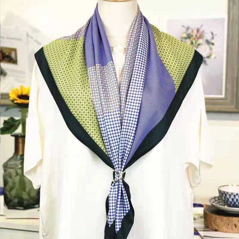 Luxury Brand Headband Shawls Scarfs For Ladies Fashion Scarves Women Shawl Twill Silk Hijab Scarf Female Bandana 90*90cm
