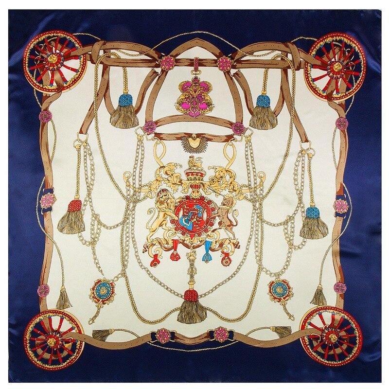 Matagorda, accesorios de 90x90cm, bufandas de seda con patrón de flecos de...