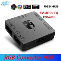 DeepCool RGB Konverter 5V zu 12V RGB Transfer Hub SATA interface Magnet installation Fur RGB 3PIN M B ASUS Gigabyte und MS