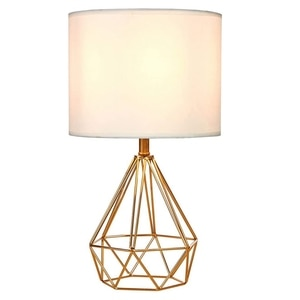 Modern Style Golden Hollowed Out Base Bedside Living Room Bedroom Table Lamp, Desk Lamp with White Fabric Shade