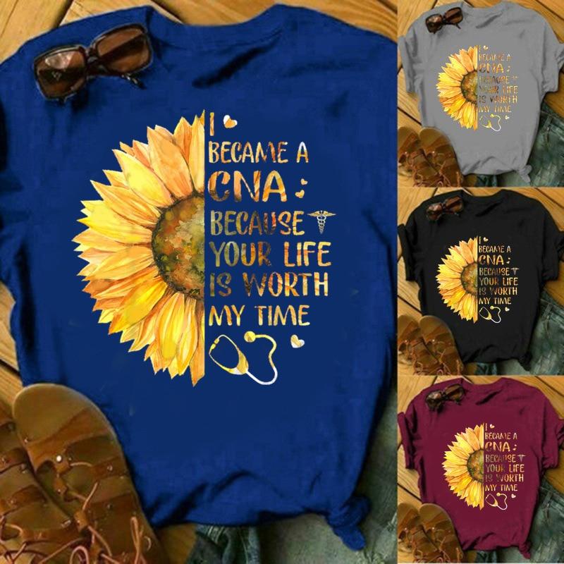 Camiseta veraniega de manga corta con estampado de girasoles y letras, camiseta gráfica para chicas para hombre y mujer