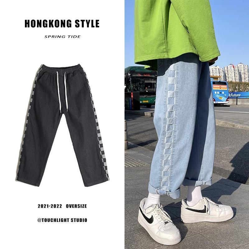 Джинсы мужские прямые в стиле пэчворк, универсальные свободные клетчатые и красивые брюки с оборками, весна 2021