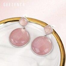 925 Sterling Silver Powder Crystal Stud Earrings Korea Trendy Handmade Craft Earring Fine Jewelry For Women Gift Party