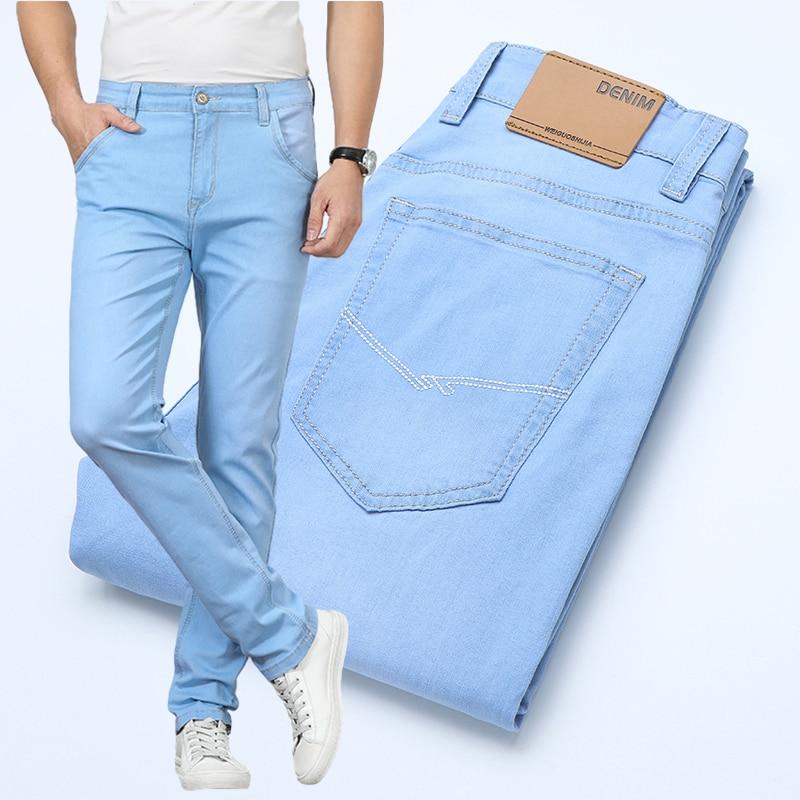 Джинсы мужские стрейчевые, светло-голубые, из хлопка