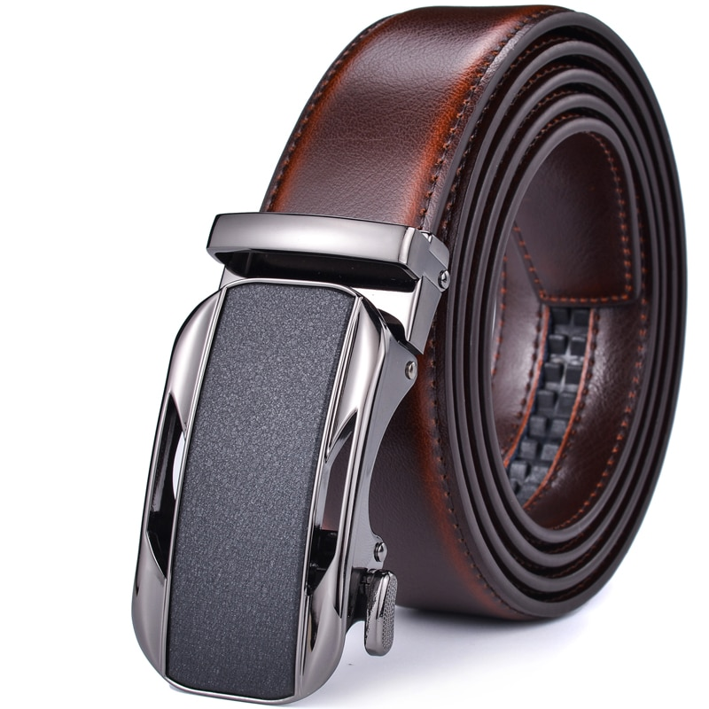 Ratchet Dress Genuine Leather Belts for Men with Automatic Buckle 2017new pgm golf belts men s genuine leather ratchet dress belt with alloy automatic buckle