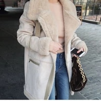 2020 winter women faux lamb wool thick warm shearling coat loose plus size long coats faux suede leather jackets outerwear a61