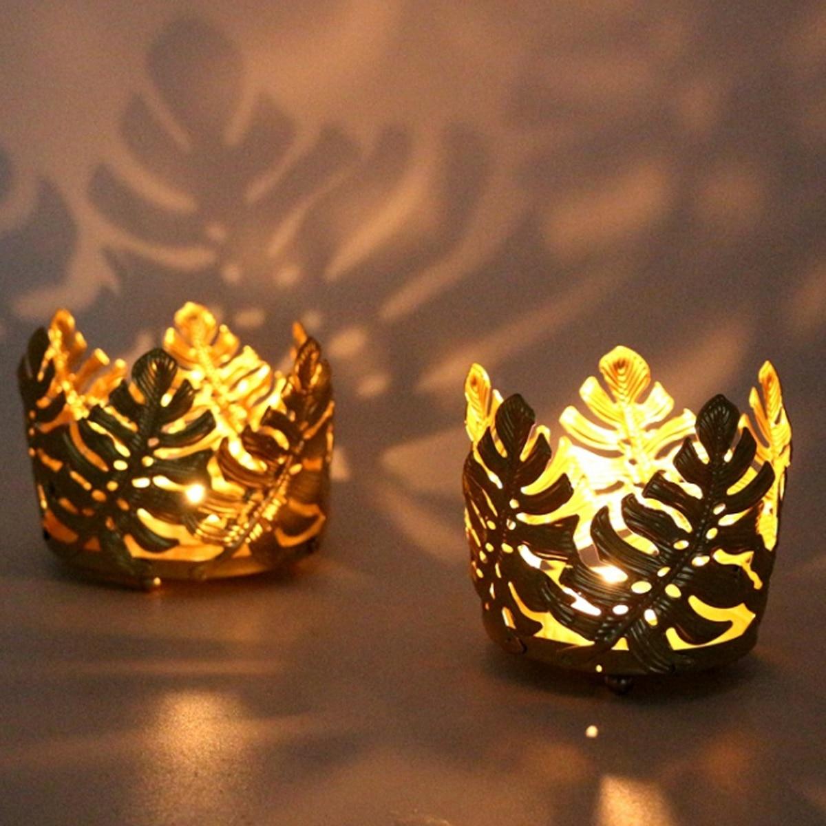 Faroot 2020 portavelas de vela de hojas doradas, estilo moderno de Metal candelabro Decoración de mesa para boda, cena, fiesta