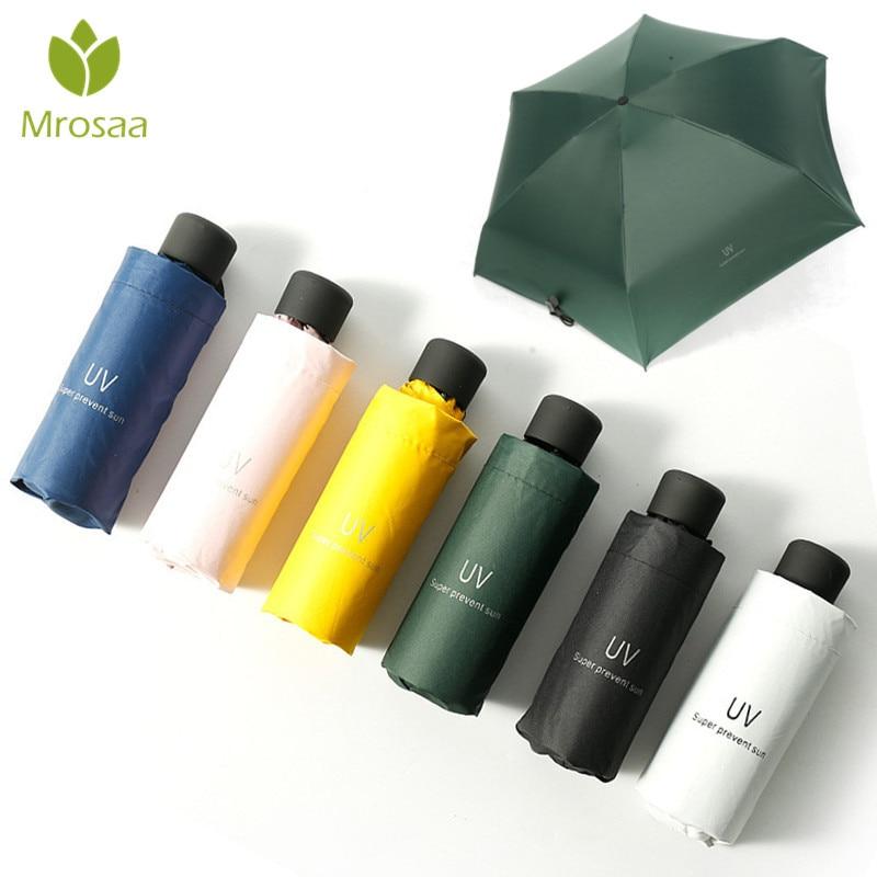 Mrosaa Small Fashion Folding Umbrella Rain Women Gift Men Mini Pocket Parasol Girls Anti-UV Waterpro
