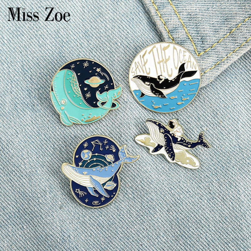 aliexpress.com - Save the Ocean Enamel Pin Astronaut and Whale Adventure in Space Ocean Brooches Bag Lapel Pin Badge Jewelry Gift for Friends