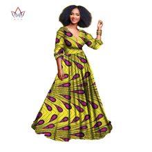 2020 African Dresses For Women Autumn Three-quarter Sleeve Dashiki African Print Clothing Plus Size Christmas Dress 5xl WY939