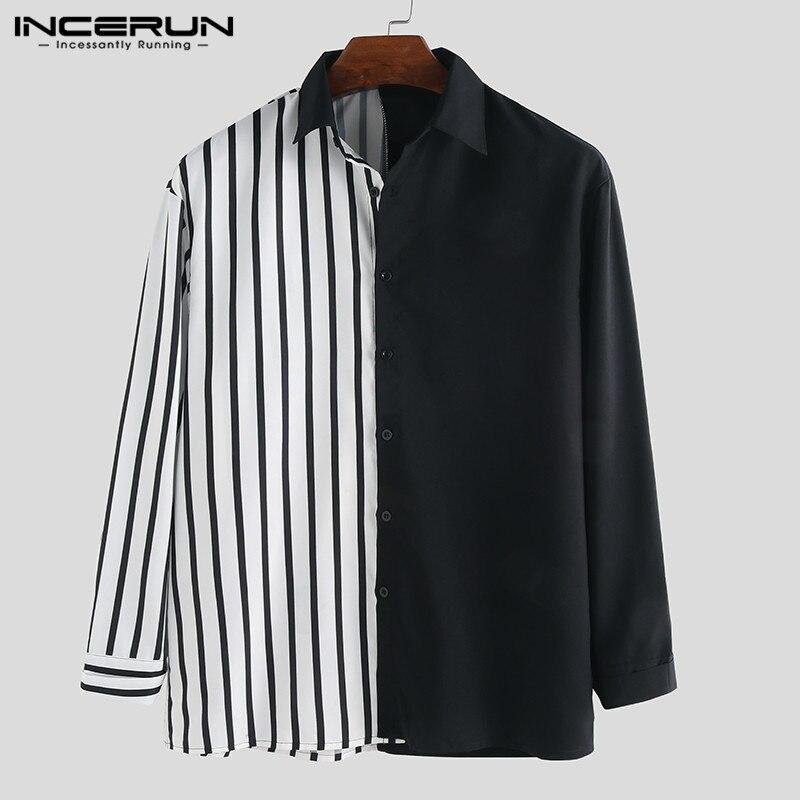 INCERUN Casual Camisa manga larga para hombre rayas Patchwork Chic solapa Collar botón personalidad marca camisas Camisa Masculina S-5XL