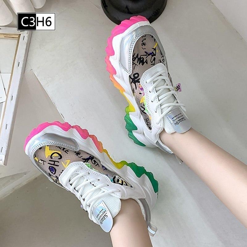 Regenboog Kleur Mode Sneakers Zomer Vrouwen Patchwork Vulcaniseer Schoenen Vrouwen Platform Mesh Lace Up Sneakers Ademend
