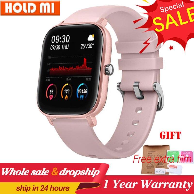 P8 relógio inteligente masculino de toque completo fitness rastreador monitor de freqüência cardíaca pressão arterial oxigênio relógio inteligente tempo smartwatch