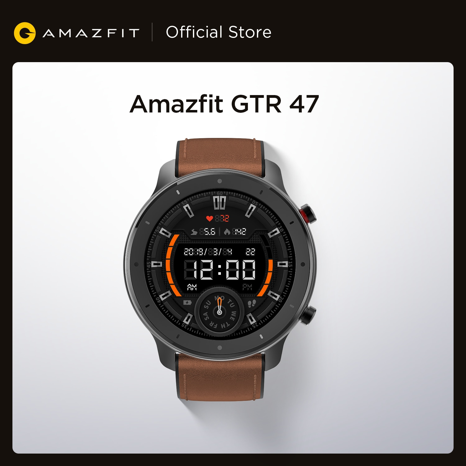 Get Global Version Amazfit GTR 47mm Smart Watch 5ATM Waterproof Smartwatch 24 Days Battery Music Control Leather Silicon Strap