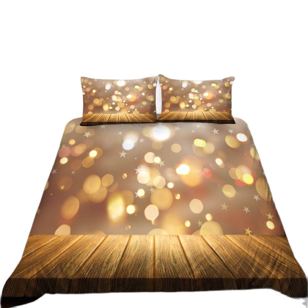 لامعة الوردي الذهب بريق نجوم طقم سرير ديكور غرفة نوم الاطفال الفتيات الهدايا حاف المعزي غطاء 2/3 قطع المفرش المخدة