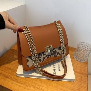 Luxury Chain Leopard Printed Shoulder Bags For Women Quality Canvas & PU Leather Crossbody Bag Female Handbags Brand Designer