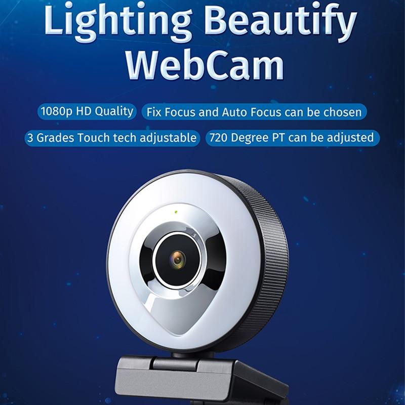 كاميرا ويب سايلفدي 1080p لفيديو اليوتيوب Usb مع ميكروفون كاميرات قابلة للدوران للبث المباشر مؤتمر مكالمات الفيديو