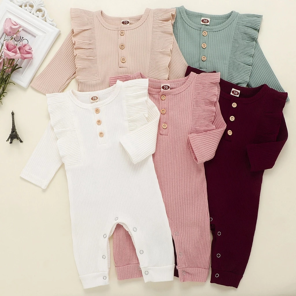 baby girl clothes autumn lattice knitted baby clothes newborn baby girl romper cotton baby cardigan sweater romper jumpsuit Baby Autumn Winter Clothing Newborn Baby Girl Boy Ribbed Clothes Knitted Cotton Romper Baby Jumpsuit Solid Girls Outfits
