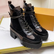 Moda rendas até botas femininas botas de couro genuíno com plataforma plana botas quentes sapatos