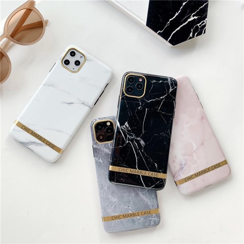Moda artística brilhante caso de telefone de mármore para iphone 11 pro xs max xr 7 8 6s mais chique listras ouro letras capa macia fundas
