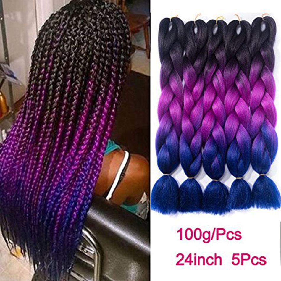 24 inch Jumbo Braids Long Ombre Jumbo Synthetic Braiding Hair Crochet Blonde Pink Blue Grey Hair Extensions African Smart Braid