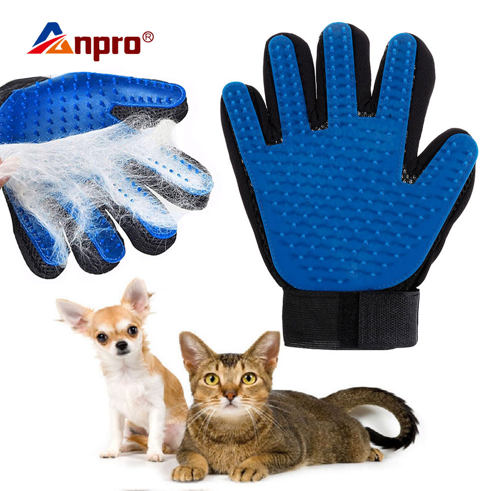 Guante de silicona suave para mascotas perro gato acicalamiento cepillo de pelo cepillo de eliminación de pelo Animal guantes de mano Limpieza de animales peine de masaje
