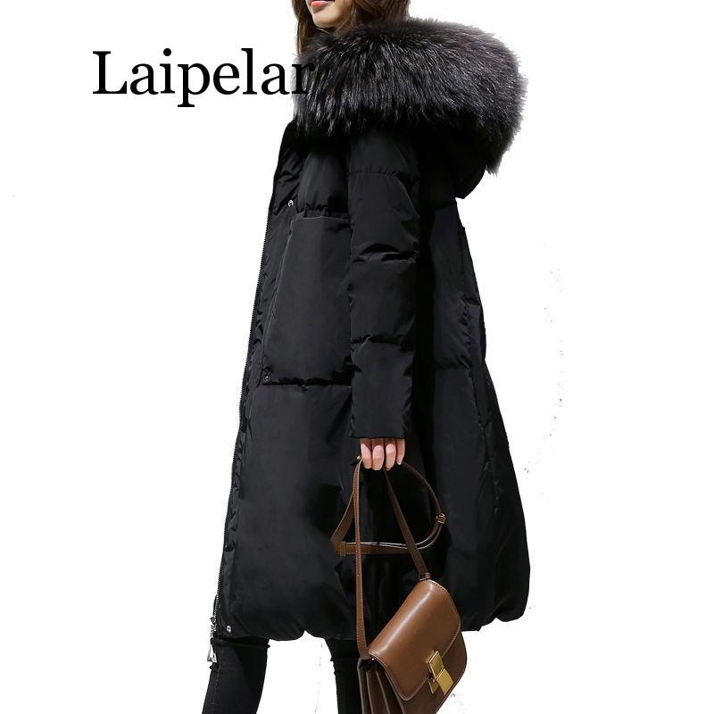 2019 New Big Size Winter Woman Coat Women Loose Thick Warm Jacket Female Faux Fur Collar Hooded Down Cotton Coat Parkas Outwear недорого