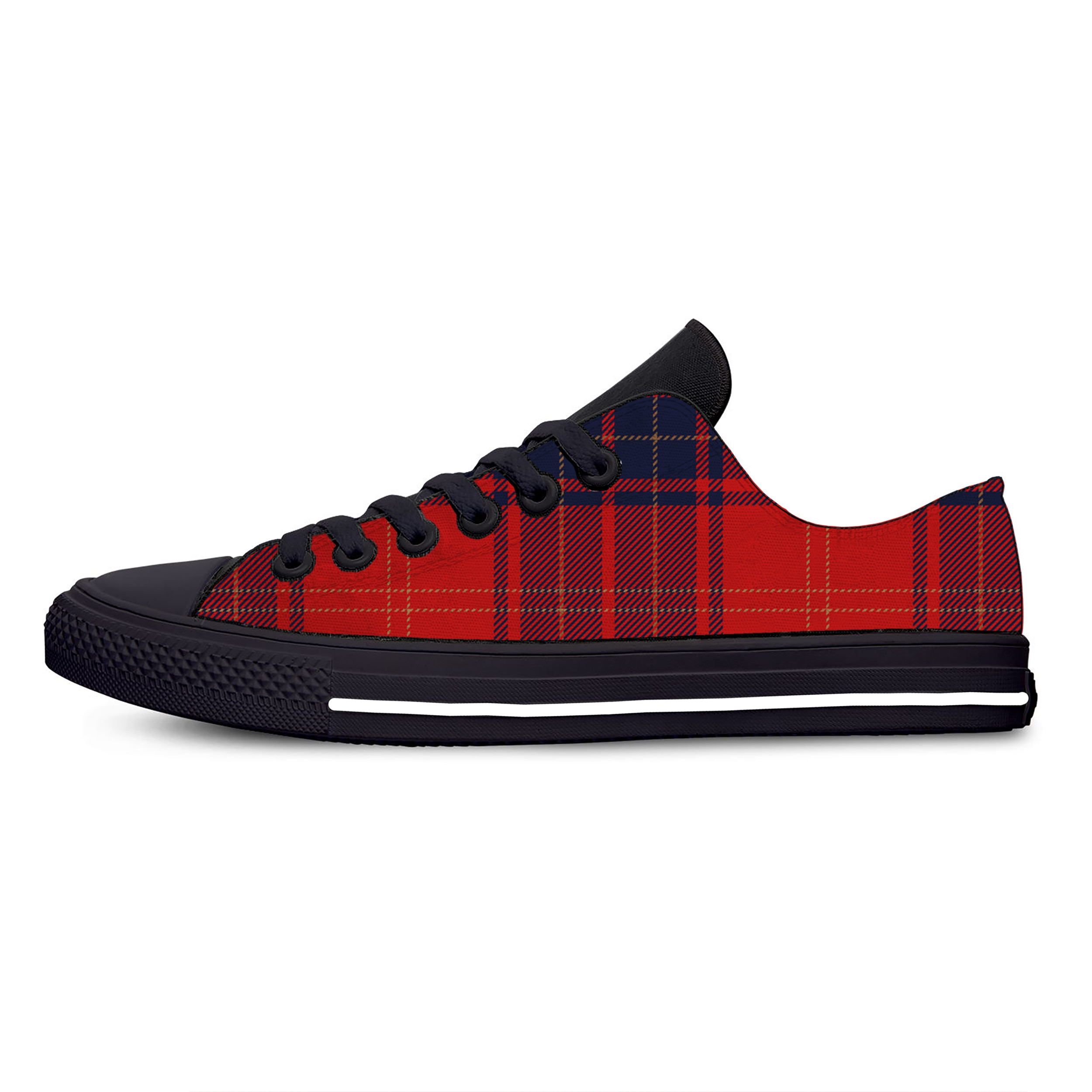 Tartan Plaid Scottish Pattern Hot Classic Fashion Casual Canvas Shoes Low Top Lightweight Breathable 3D Print Men women Sneakers