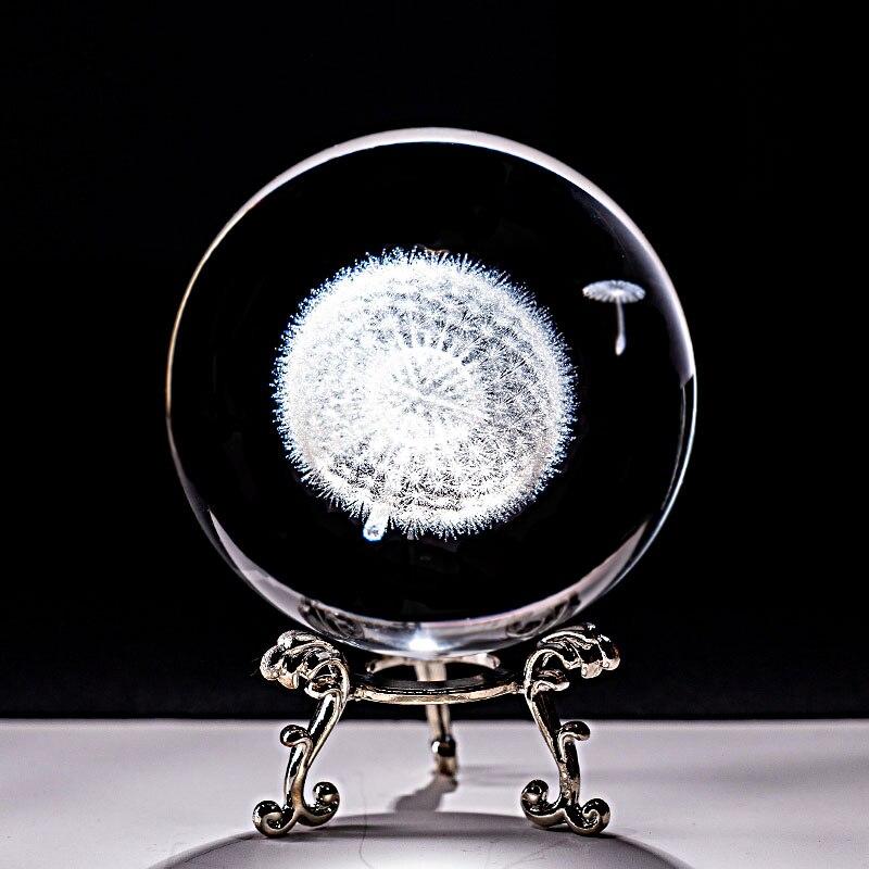 Bola De Cristal 3D con grabado láser, diente De león en miniatura,...