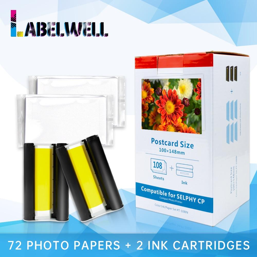 Labelwell KP-108IN KP-36IN Tinte Papier Set kompatibel für Canon Selphy CP910 CP900 CP1300 CP1200 Foto Drucker mit 2 tinte kassette