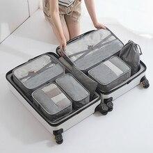 7 pièces organisateurs demballage de bagages de voyage avec sac à chaussures pour le stockage sous-vêtements chaussures accessoires de voyage sacs demballage