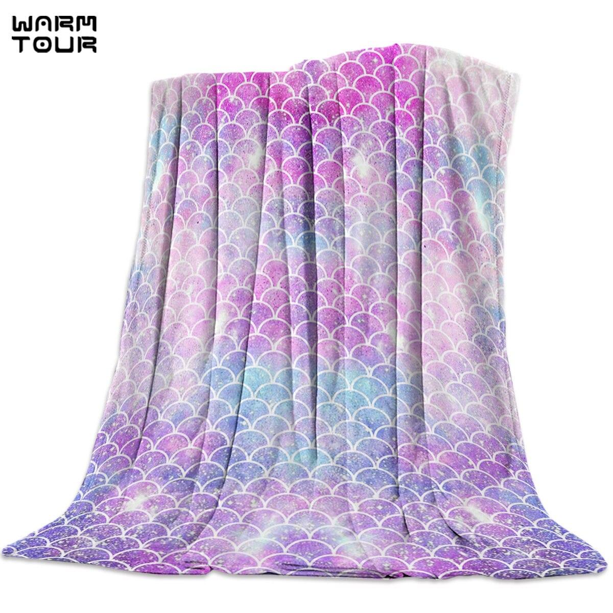 Hermosa sirena báscula colorida manta divertida impresa suave niño niña bebé Coral polar dibujos animados mantas cálido sofá cama sábanas