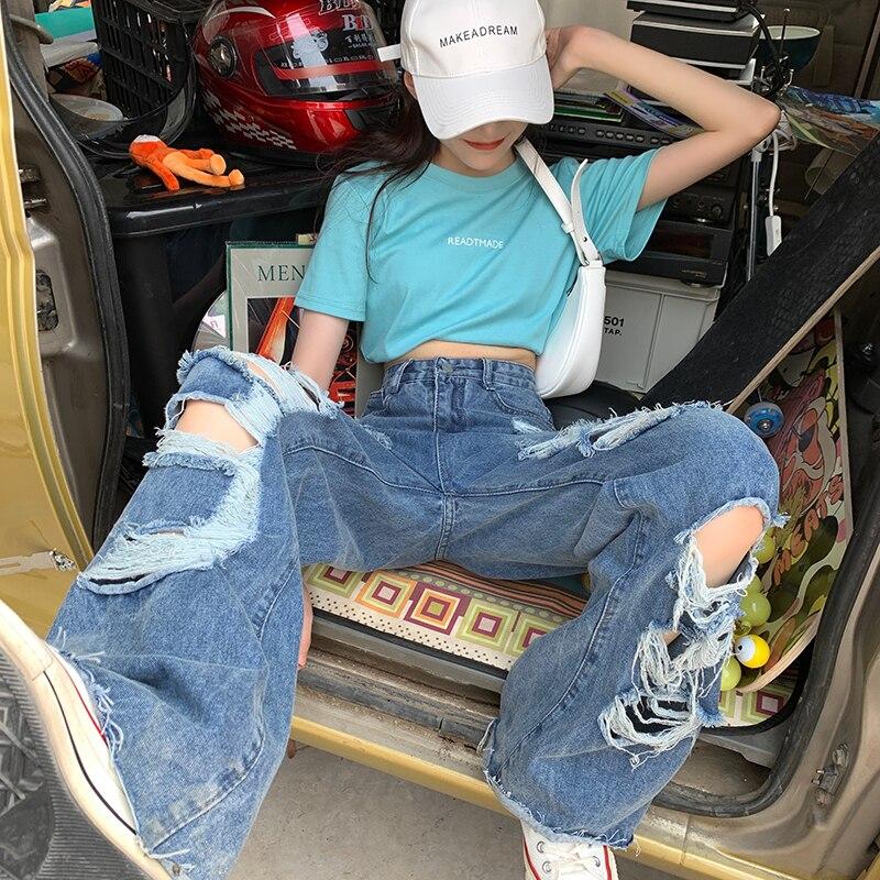 بنطلون جينز نسائي مُمزق من Varofi مقاس كبير وفضفاض مستقيم ومترهل سراويل نسائية y2k
