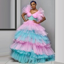 African Plus Size Colorful Ball Gowns Tiered Tulle Quinceanera Dress V-Neck Ruched Evening Gowns Lon