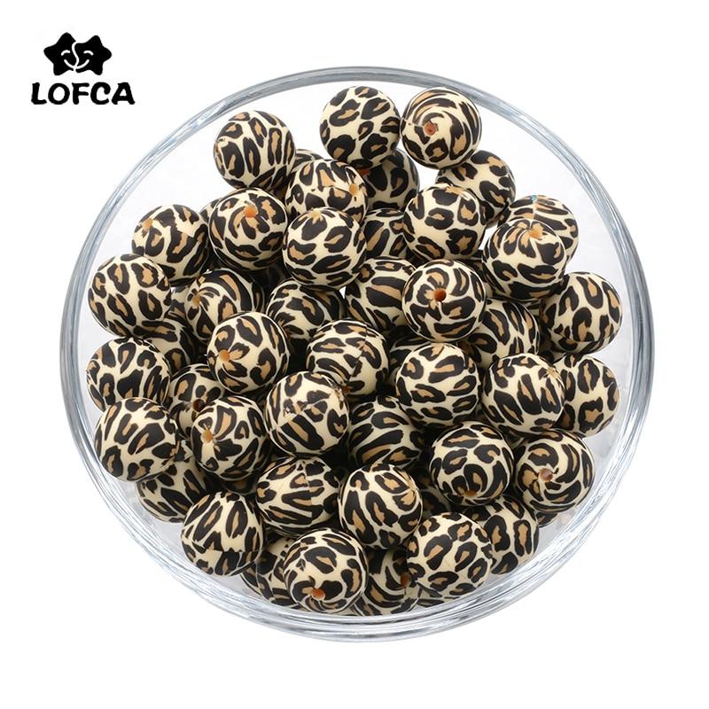 LOFCA 10pcs Leopard Hexagon Silicone Loose Beads Teething Beads DIY Chewable Teething Beads BPA Free Baby Teethers