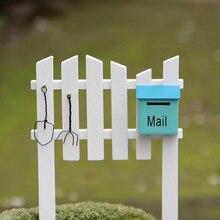 Boîte aux lettres clôture Miniatures Figurines ornements décoration de la maison artisanat bois Micro paysage accessoires