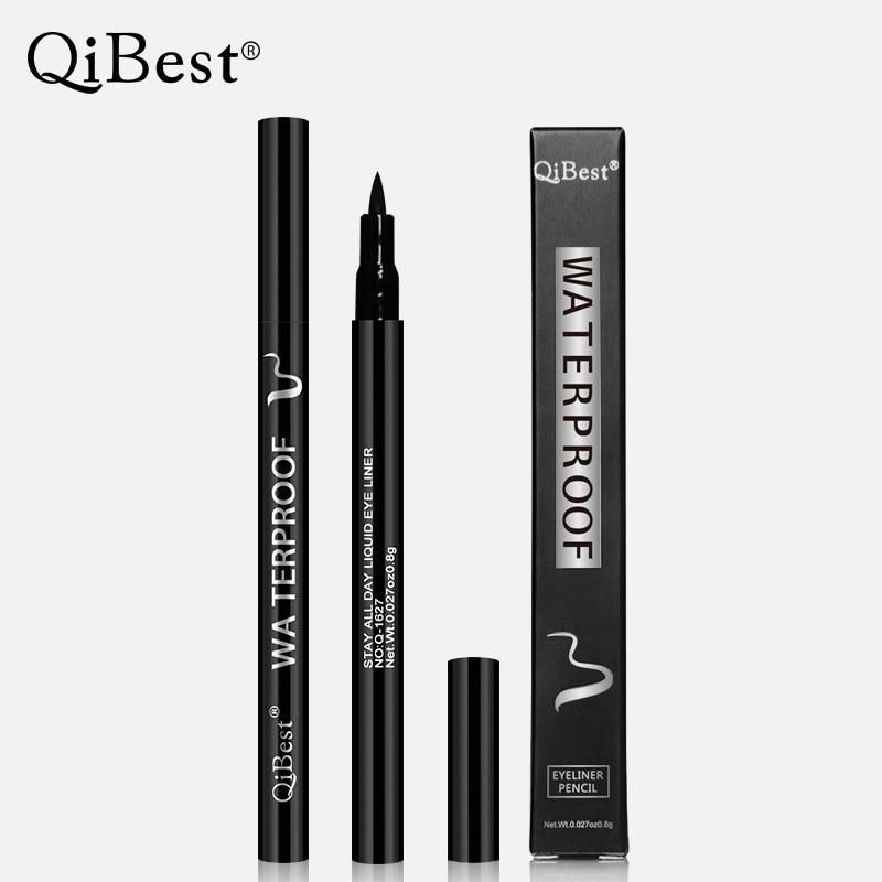 QiBest-Delineador de ojos profesional, resistente al agua, larga duración, Delineador negro, pluma delineadora de ojos, líneas finas, cosméticos, maquillaje de secado rápido