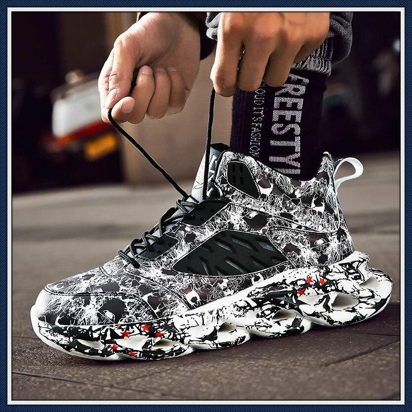 ¡Novedad! Zapatillas para correr estilo Hip Hop callejero para hombre, Zapatillas gruesas con grafiti de alta calidad, Zapatillas deportivas con amortiguación de Blade Warrior, Zapatillas para correr