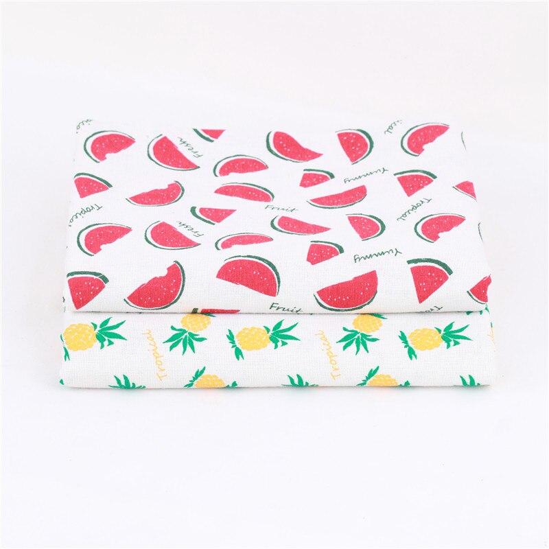 Fruit Linen Cotton Fabric Handmade DIY Sewing Pillow Sofa Fabric Plaid Printed Coarse Cloth