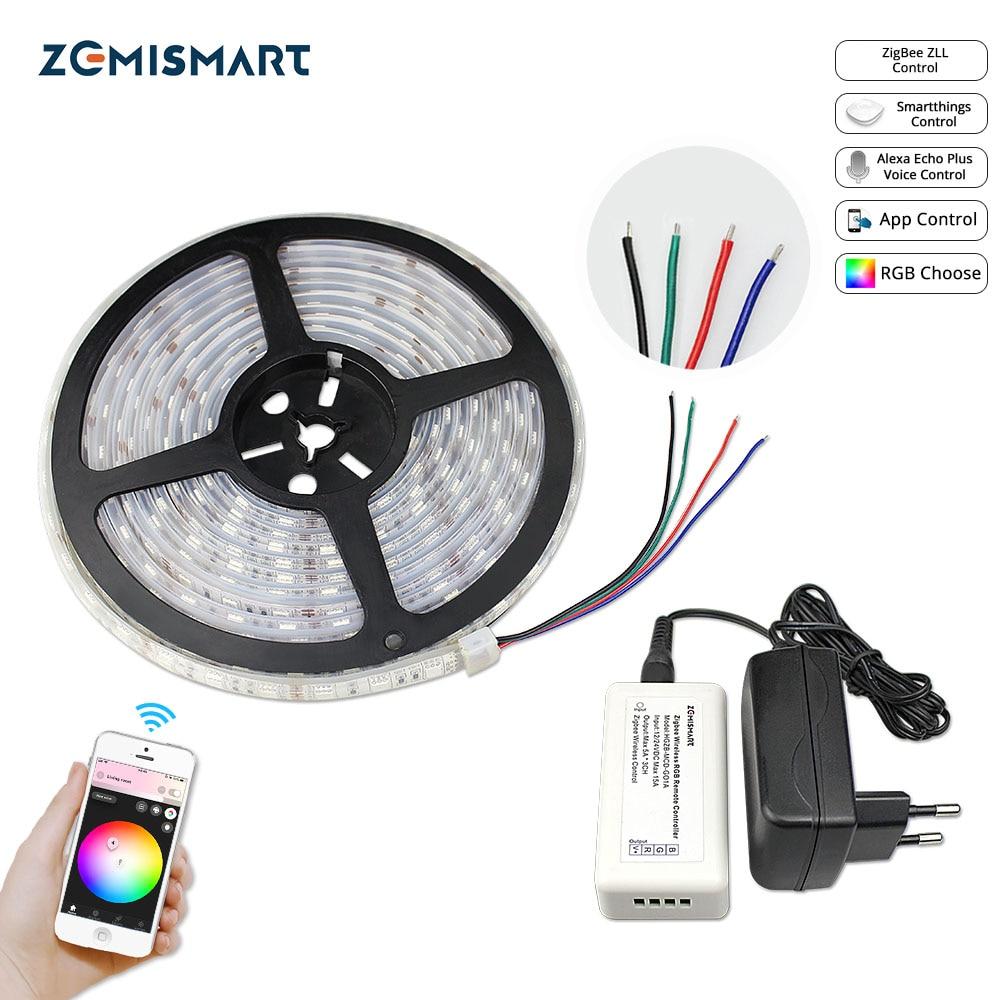 Zemismart – pilote Zigbee ZLL, 5M, LED bandes RGB, basse tension, commande par Echo Plus, directement Smartthing