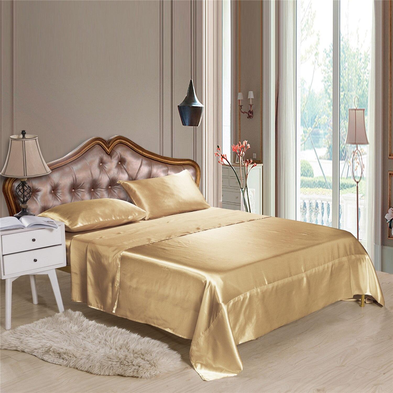 البوليستر الحرير غطاء سرير مجموعة للمنزل 4/3 في 1 ستوكات الساتان الصلبة شقة المجهزة ورقة المخدة غطاء طقم سرير