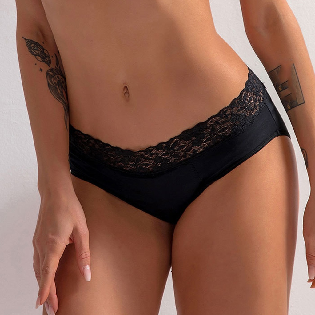 Women Black Color Leak Proof Menstrual Period Panties Ladies Underwear Physiological Lace Pants Unde