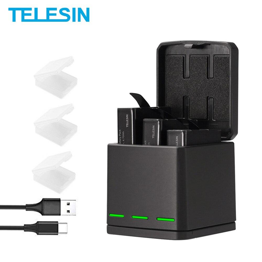 TELESIN-شاحن بطارية LED مع 3 فتحات وكابل من النوع C ، ملحقات كاميرا GoPro Hero 5 6 7 8