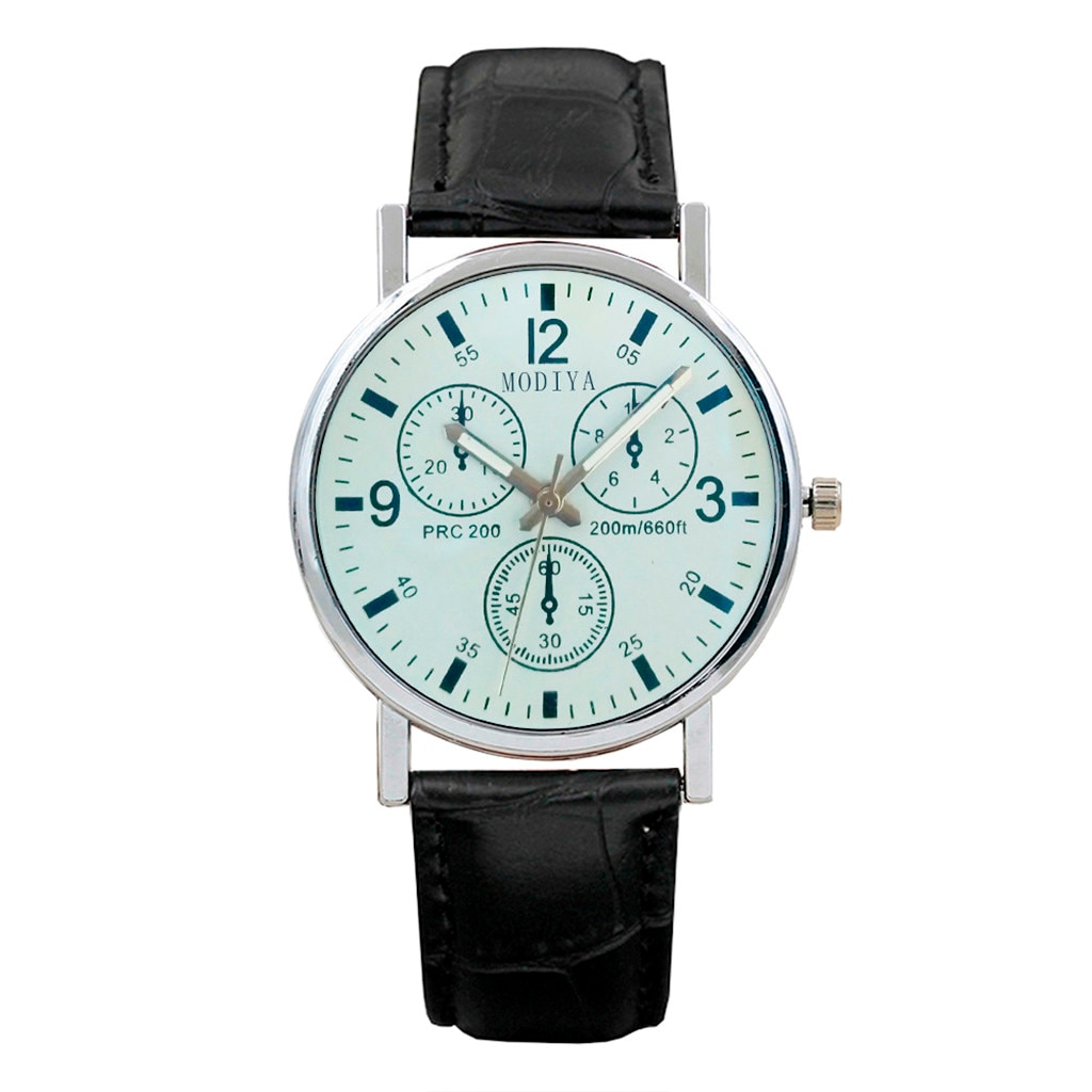 Simple Leather Belt Watch Men Six Pin Quartz Watches Blue Glass Wristwatches Casual Busniess Час�