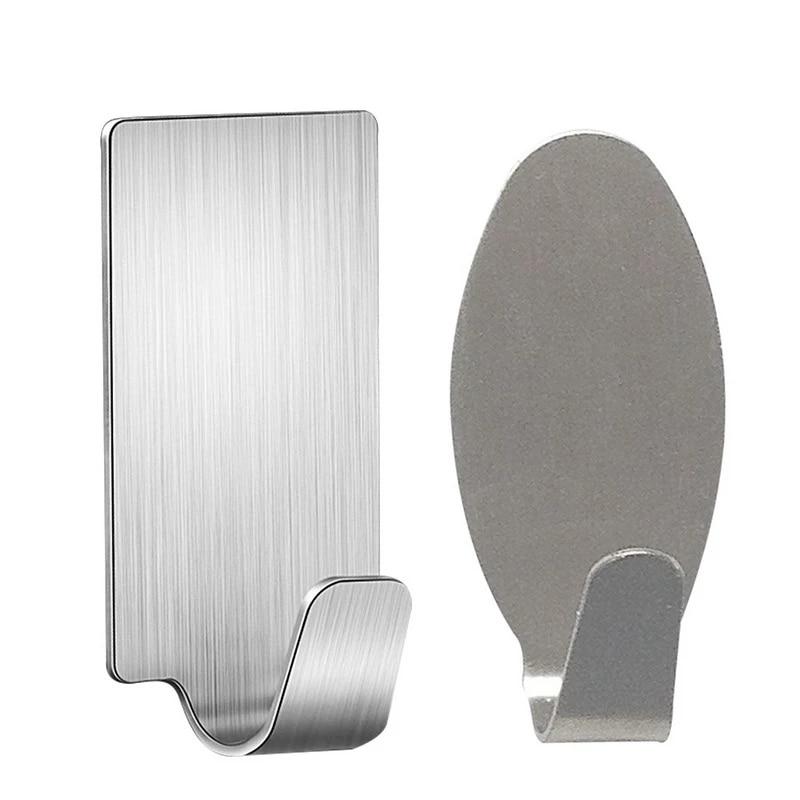 Hot 6PCs Self Adhesive Kitchen Wall Door Hook Stainless Steel Holder Hanger For Bathroom Door Wall Kitchen Tools
