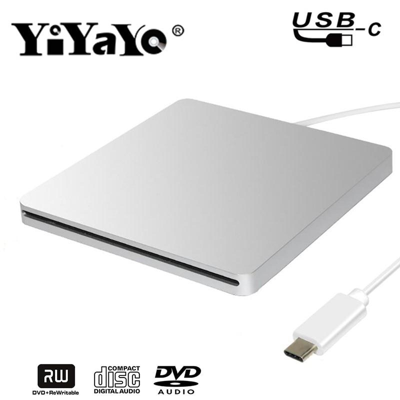 YiYaYo Tipo C USB 2.0 External DVD Drive Drive Ottico DVD RW Burner Writer CD ROM Player per hp Computer Portatile desktop Finestre MAC OS