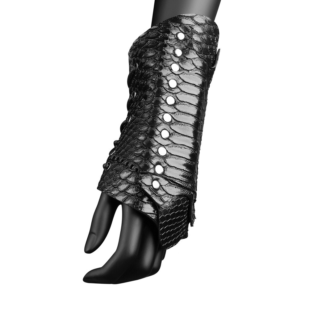 Unisex Faux Leather Arm Warmers Lace-Up Gauntlet Wristband Wide Bracer Protective Armor Cuff Cross String Steampunk Cosplay