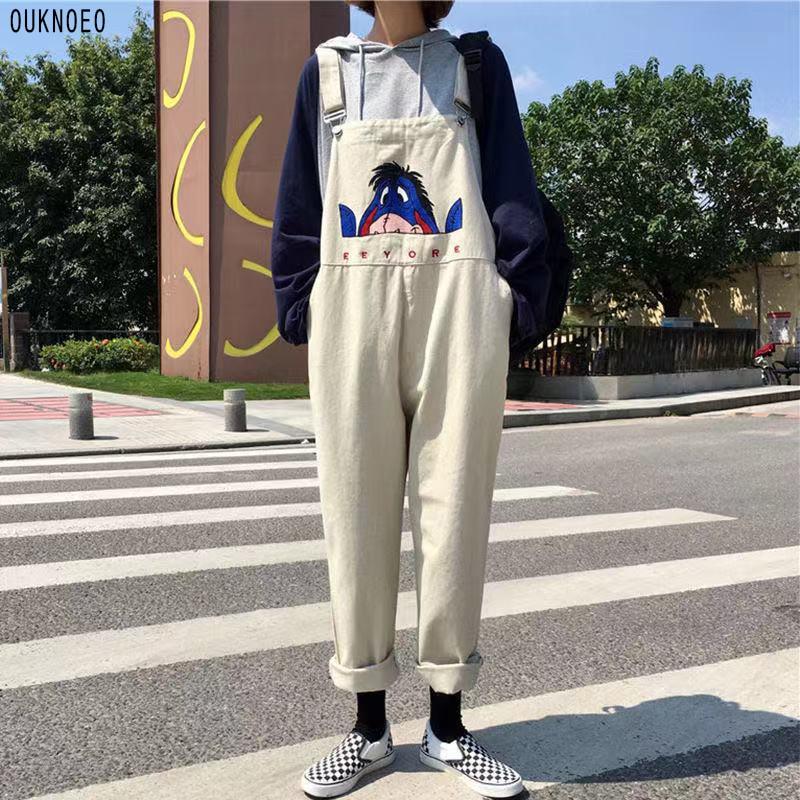 Women's Denim Jumpsuit Cartoon Funny Printing Korean Preppy Style Wide Leg Pants Street Fashion Ankle Pants Women Denim Overalls