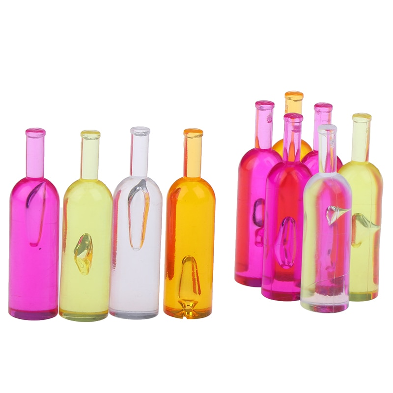 10pcs/set Colorful 1:12 Dollhouse Miniature Colorful Wine Bottles Models Toys Pretend Play Toy